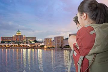 backpacker take photo