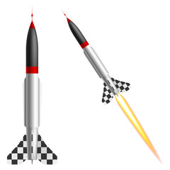 Rockets on a white background. Vector illustration
