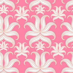 Seamless abstract floral pattern. Vector illustration. Pink Desi