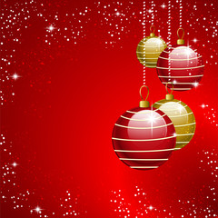 red gold christmas balls background