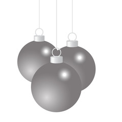 Silver Christmas balls on a white background