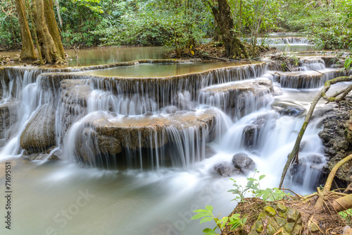 Huay Mae Kamin Waterfall at Kanchanaburi province, Thailand - 71695151
