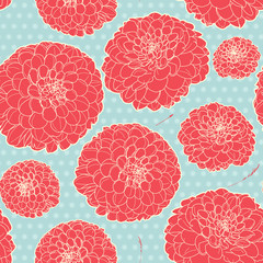 Seamless floral vintage japanese light-blue pattern