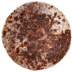 Rusty round metal plate