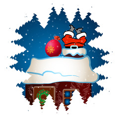 Santa Claus climbs the chimney