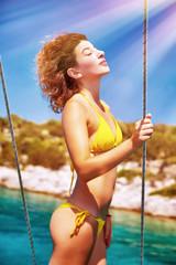 Sexy model enjoying sunny day