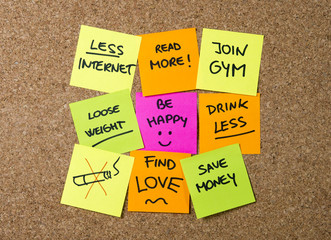 group of New year Resolutions Post it notes variety colors