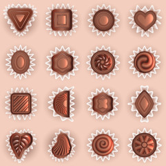 chocolates of different shapes top view