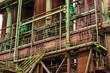 canvas print picture - Stahlwerk Ruine mit Kessel