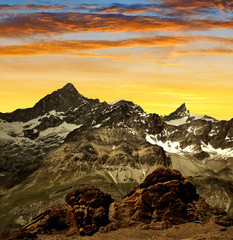 Gabelhorn and Zinalrothorn of the Wallis Alps - Swiss