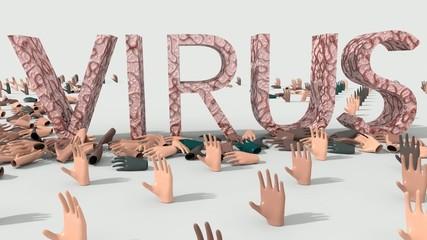 Mani che chiedono aiuto ma vengono colpite da virus