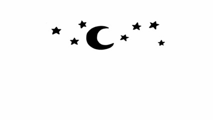 stars and moon cartoon animation loop with alpha matte