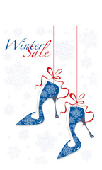 Winter sale label with stylish shoes