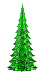 glass christmas tree table decoration isolated on white backgrou