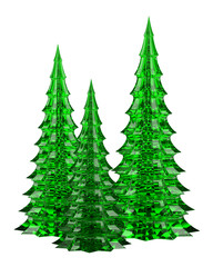 three glass christmas trees table decoration isolated on white b