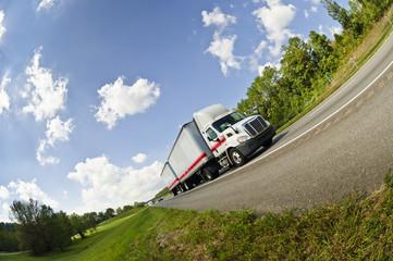 Fisheye View of Semi Truck On Interstate Highway