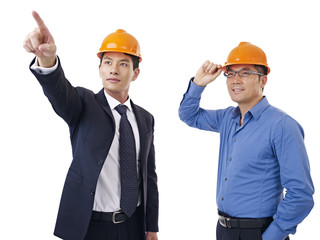asian businessmen with safety helmet