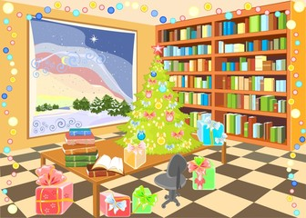 Interior of the library with Christmas tree