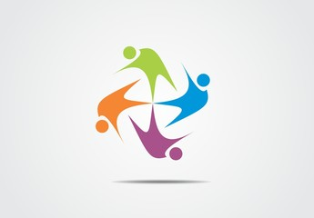 rainbow color circle social network vector logo