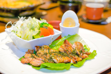 Grilled Chicken with Egg and Salad