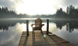 Leinwandbild Motiv Chair on Dock at Alice Lake in Late Afternoon