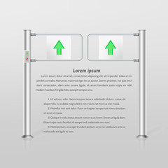 Illustration of double turnstile with green arrows
