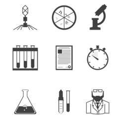Black icons for microbiology