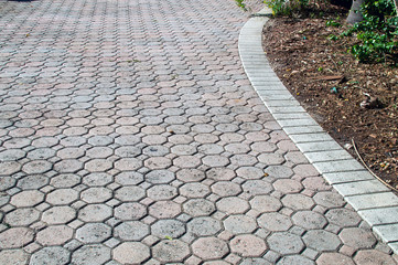 octagon shaped bricked driveway