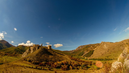 Coltesti fortress in autumn landscape time lapse Transilvania