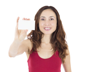 Young caucasian woman showing a business card