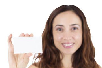 Woman with a sign card
