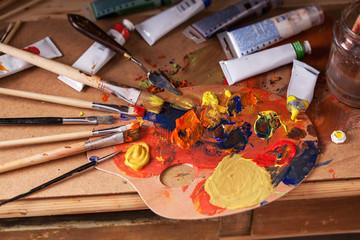 Mixing paint color.Art.