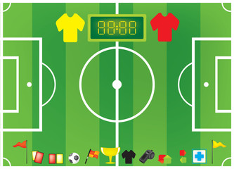 football soccer elements on soccer football field background