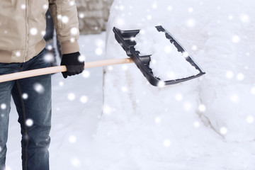 closeup of man digging snow with shovel near car