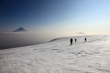 Alpinists on the top of Ploskiy Tolbachik volcano.