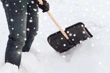 closeup of man digging snow with shovel