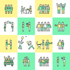 Friends icons flat line
