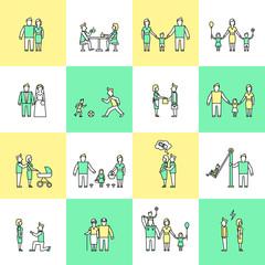 Family icons set flat line
