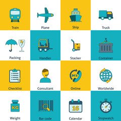 Logistic icons set flat