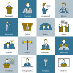 Public speaking icons flat line