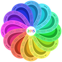 Round calendar for 2015 in rainbow color