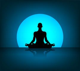 meditazione, yoga, pensare, fiore di loto