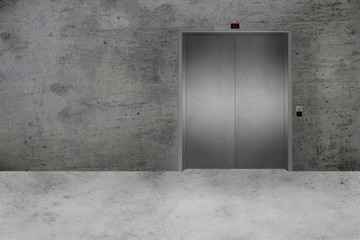 Concrete Wall and Elevator Door