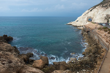 Rosh HaNikra bay and the railway tunnel entrance