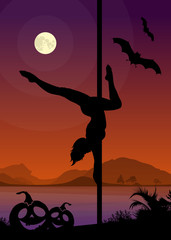 Halloween Style Silhouette of Pole Dancer
