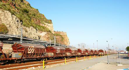 Tren de mercancías en el puerto de Barcelona