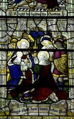 Three kings visiting baby Jesus