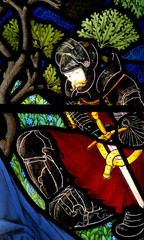 A knight in stained glass