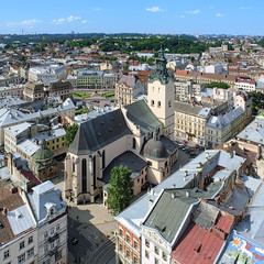 View of Latin Cathedral from the tower of Lviv City Hall