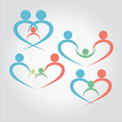 vector of family together with child. love,care,protect